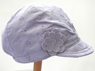 Girls Cotton Broderie Anglaise Sun / Summer Hat Pink or Lilac 1-3 4-8 8-12 Years