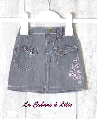♥ Jupe Jeans Gris Clair Rose Taille Ajustable BABY WAPI 6 Mois ♥ E160