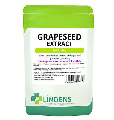 GRAPE SEED 50mg (grapeseed extract) *100 tablets** CArdiovascular, Immune health