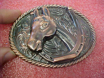 F6 Vintage Via NY Copper plated horse and Horseshoe belt buckle EXCELLENT cond