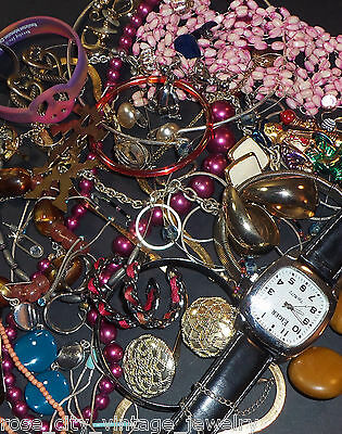 1 lb VINTAGE JEWELRY Necklace Bracelet Rings + REPAIR Harvest Craft JEWELRY LOT