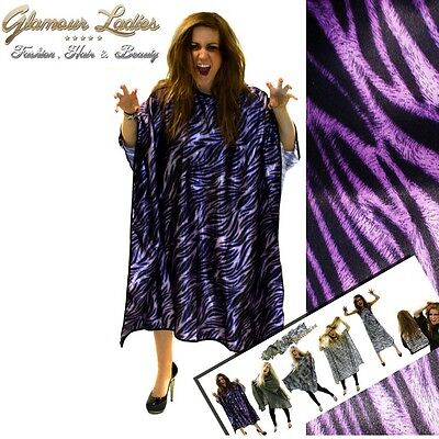 Purple Tiger Print Hairdressing Gown Water Repellant Hook Fastening System Salon
