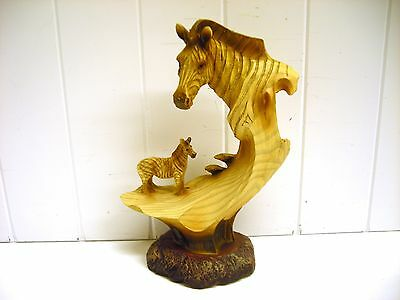 Mmd-169 Zebra Bust Statue Carved Scene Safari Figurine Unison Wood Like