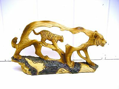 MMD-192 SMALL TIGER STATUE CARVED SCENE SAFARI FIGURINE UNISON WOOD LIKE