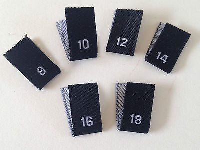 Woven Size Label Pack Of 50 Per Size