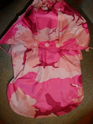 """CASUAL CANINE """"HOODED RAIN JACKET"""" CAMO PINK Dog/Puppy XX-Small  9"""""""