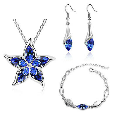 Royal Blue Jewellery Set Crystal Flower Drop Earrings Necklace & Bracelet S509
