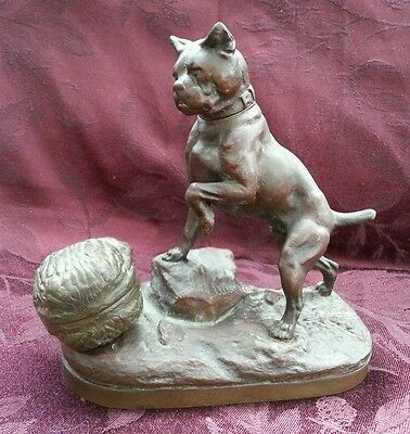 Bronze Dog with Chestnut Hinged Case, signed Lecourtier