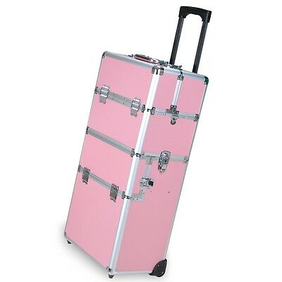 """38"""" Pink 2in1 Aluminum Rolling Makeup Train Case Lockable Wheeled Cosmetic Box"""