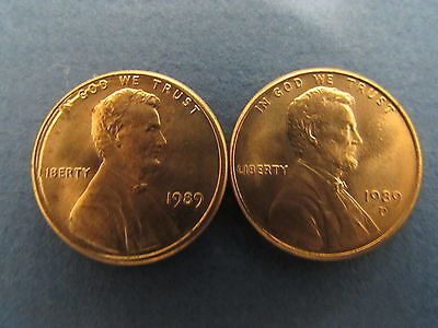 1989 P D Lincoln Memorial Cent Penny BU Brilliant Uncirculated Set From  Rolls
