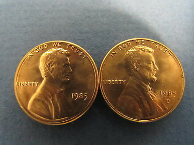 1985 P D Lincoln Memorial Cent Penny BU Brilliant Uncirculated Set From Rolls
