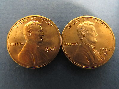 1984 P D Lincoln Memorial Cent Penny BU Brilliant Uncirculated Set From Rolls