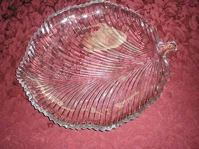Fabulous Large Leaf  Glass Serving Platter Patterned