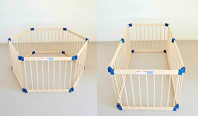 Kiddy Cots Link 70 Baby Playpen Wooden Timber Natural Child Pet Safety Yard