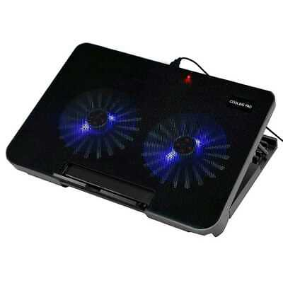 Base de Refrigeracion para portatil Laptop hasta 17'' USB 2 Ventiladores Luz Led
