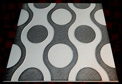 POLYSTYRENE TILES  PANELS WALL CEILING (Pack of 24) 6 Sqm - SILVER-BLACK