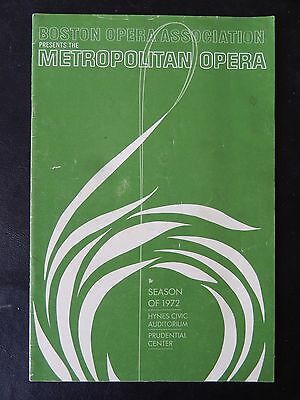1972 Season - Hyne Civic Auditorium Playbill - Boston Metropolitan Opera