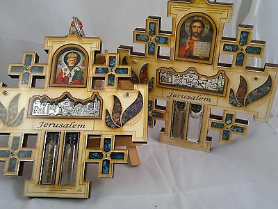 Wood Jerusalem Cross Wall Hanging Orthodox Greek Sacred Heart Jesus Guadalupe