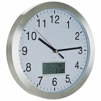 Trademark Weather Station Wall Clock - 12 inch Aluminum