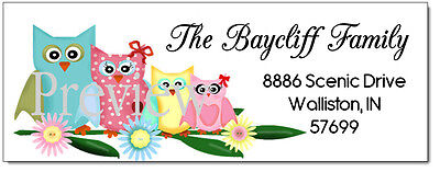 Four Pretty Owls In A Family  #41 Laser Return Address Labels
