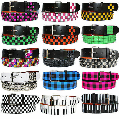 Snap On Pyramid Studded & Printed Mens Womens Belt With Removable Buckle