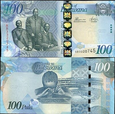 Botswana 100 Pula 2010 (2011) P 33 New Sign Unc