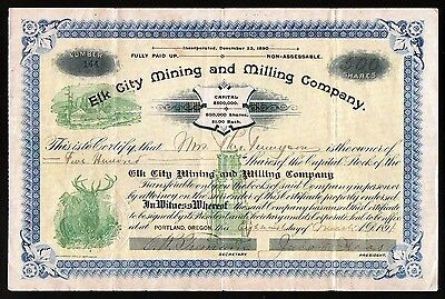 Elk City Mining and Milling 1891 Stock Certificate Portland Oregon  EX RARE