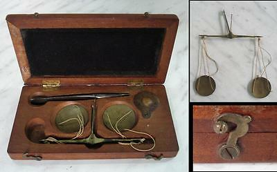 19C. ANTIQUE MEDICAL SCALES SET BOXED w/SILVER PINCERS