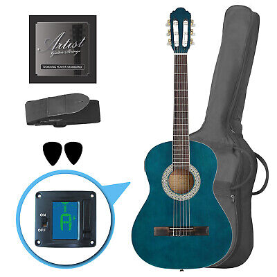 Artist CL34TBB 3/4 Size Classical Guitar Pack, Nylon String - Blue - New