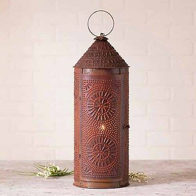 """22"""" Decorative Punched Tin Lantern in Rustic Tin - Primitive Accent Light"""