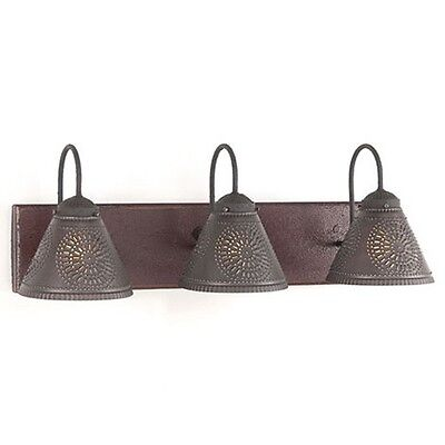 Crestwood 3-Arm Wooden Vanity Light in Plantation Red by Irvins Country Tinware
