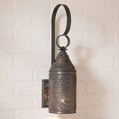 """15"""" Decorative Punched Tin Electric Wall Lantern in Blackened Tin"""