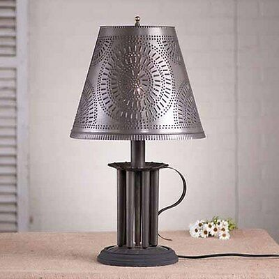 Round Seven Mold Table Lamp w/ Punched Tin Shade in Black | Colonial Lighting