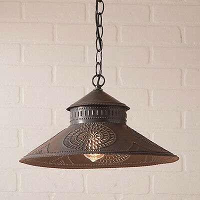 Shopkeeper Pendant Kitchen Shade Light in Black Tin w/ Punched Chisel Pattern
