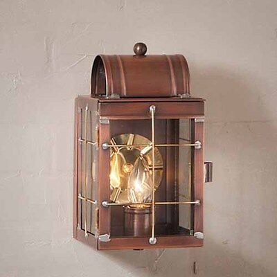 Small Outdoor Copper Wall Lantern Fixture in Solid Antique Copper