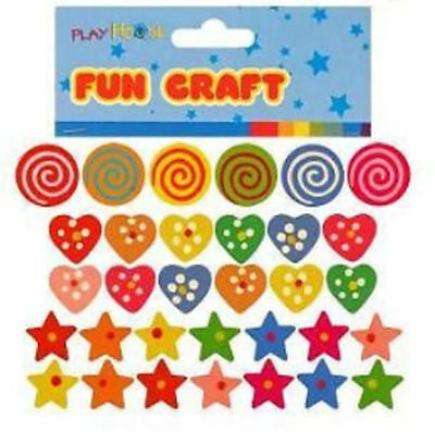New Approx 90 Colourful Painted Star Swirl & Heart Shape Wooden Beads 3 Packs Hb