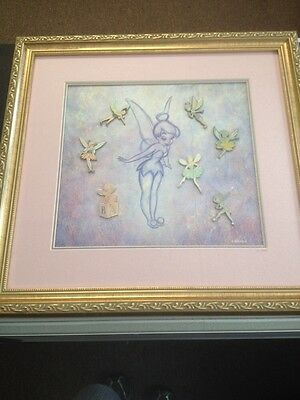 """Disney """" Tinker Bell A Character History """" Framed Pin Set /2500 Limited Edition"""