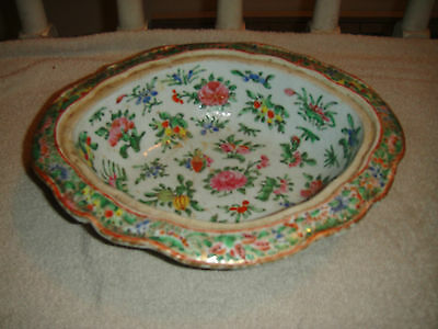 Antique Chinese Or Japanese Serving Bowl-Rectangular-Scalloped-Floral Famille