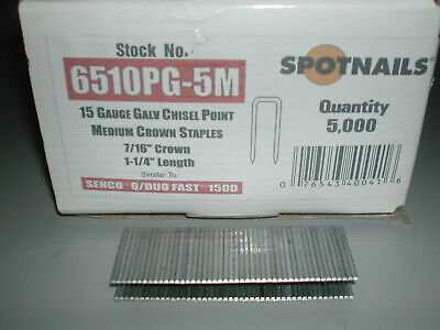 "15 Gauge Staples 7/16"" Crown x 1 1/4"" Length Spotnails for Senco Q Series 5,000"