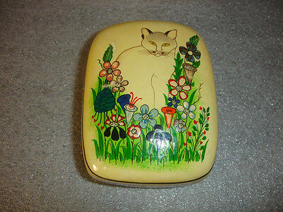 Old Vtg Sarah's Imports Hand Made Cat Garden Flowers Trinket Box Made In India