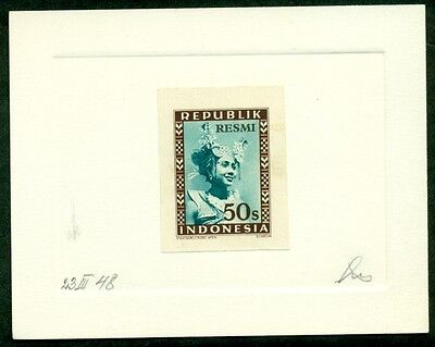 INDONESIA #O12 50s Official PROOF on Due Sunk card, signed only 3 made, XF