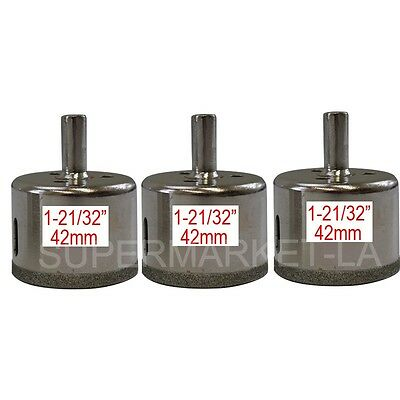 42mm Diamond Coated Tool Drill Bits 3 pieces Hole Saw Marble Glass Tile Ceramic