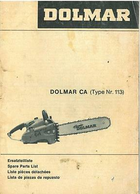 Dolmar Chainsaw Type Ca Parts Manual - - Chain Saw