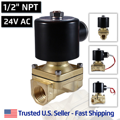 "1/2"" NPT 24V AC Electric Brass Solenoid Valve Water Gas Air 24 VAC - VITON SEAL"