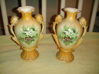 Antique Austrian Tulip Handle Urn Vase-Pair-Floral Body-Marked Bottom-Pottery