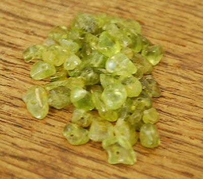 """PERIDOT SMALL TUMBLE CHIP BEADS - 50 BEADS or 36"""" STRING"""