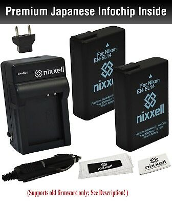 NX-ENEL14K1 WT Nixxell Battery (2pack) and charger Nikon D5100, D5200, D5300