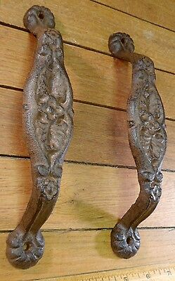 2 Lg Handles Pulls Drawer Door Cabinet Barn Shed Rustic Cast Iron Antique Style