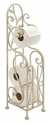 """Standing Toilet Paper Spare Roll Holder Antiqued White Metal Shabby and Chic 24"""""""