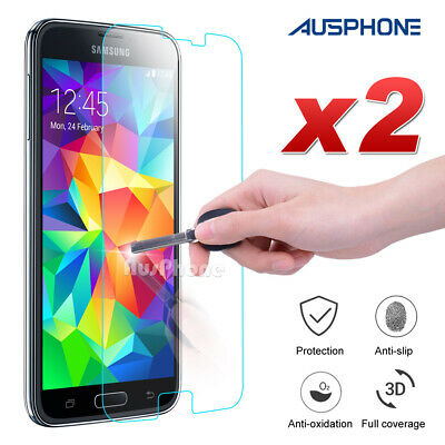 2x For Samsung Galaxy S5 i9600 FULL COVER Tempered Glass Screen Protector Film